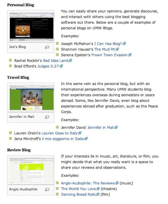 UMW Blog examples