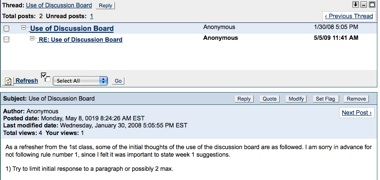 A Blackboard discussion board