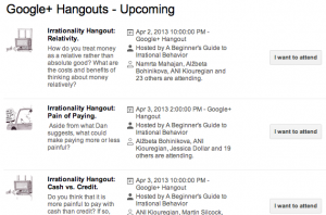 The Google+ Hangout scheduler helps students coordinate their own video conversations.