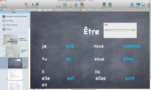 Screenshot showing the iBooks Author interface. Valnes Quammen has added a sound file demonstrating correct pronunciation to the page, which shows the conjugation of a common French verb.