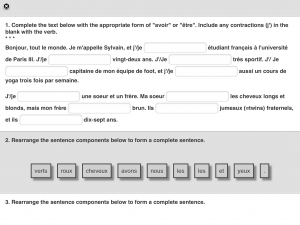 Screenshot from an iPad showing an interactive activity developed by Valnes Quammen using iBooks Author.