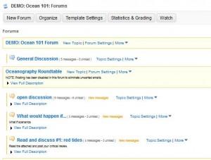 Forum in Sakai screenshot