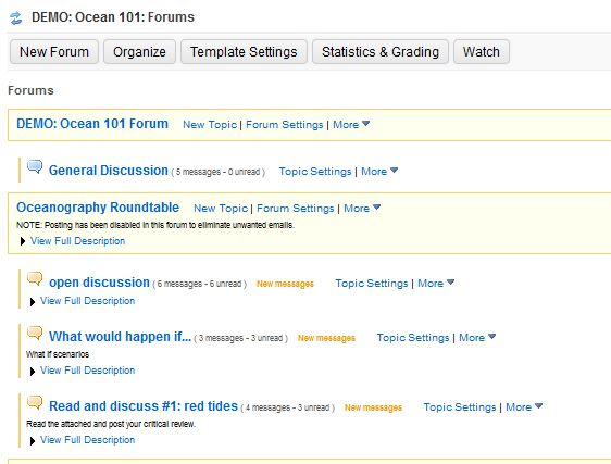 Forum in Sakai screenshot