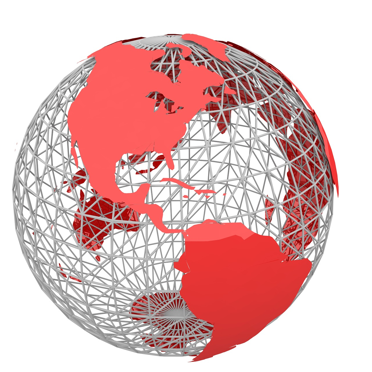 Wireframe sphere with a red metallic image of the global landmasses upon it.