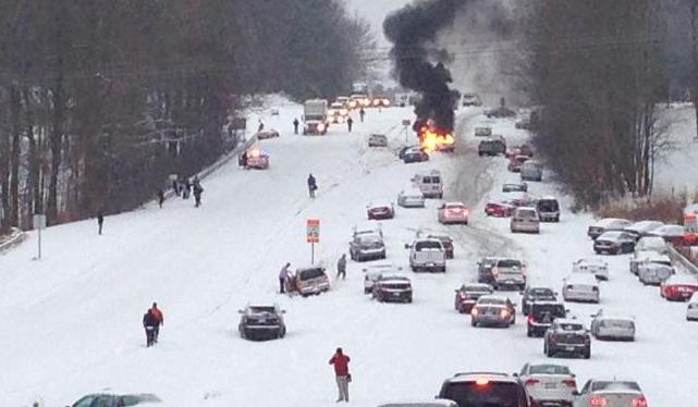 snow highway crash