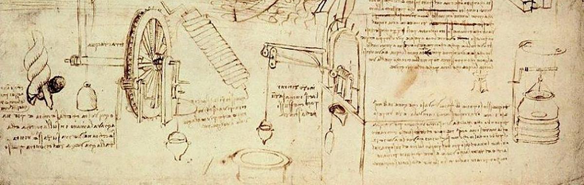 Da Vinci water lifting devices sketch